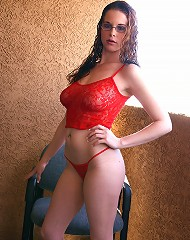Sweetie undressing on the balcony